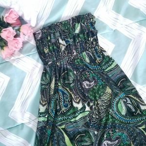 Strapless Green and Black Paisley Summer Dress